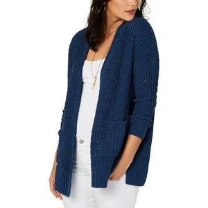 Style & Co Chenille Cardigan Sweater Navy Blue M